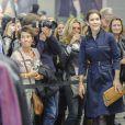 La princesse Mary de Danemark en bleu de travail au Salon international de la Mode de Copenhague (CIFF), dont elle est la marraine, le 1er février 2013.