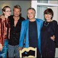 Johnny Hallyday, Laeticia, Michel Sardou et son épouse Anne-Marie Périer à Toulon, le 16 septembre 2000.