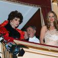 Gina Lollobrigida, Richard Lugner et Mira Sorvino à la 57e édition du Bal de l'Opéra à Vienne, le 7 février 2013.