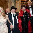 Mira Sorvino, Richard Lugner, Gina Lollobrigida et Helmut Werner à la 57e édition du Bal de l'Opéra à Vienne, le 7 février 2013.