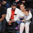 Swizz Beatz, Alicia Keys et leur petit garçon Egypt lors du All-Star Game qui se déroulait au Toyota Center de Houston le 17 février 2013