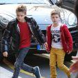Romeo et Cruz arrivent au Royal Monceau pour fêter les 8 ans de ce dernier le 20 février 2013 à Paris