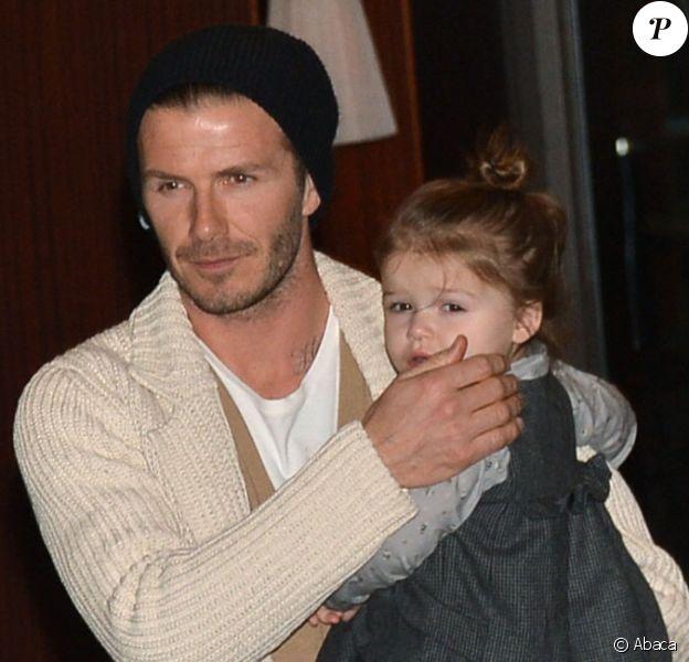 David Beckham et sa petite Harper au Royal Monceau pour fêter les 8 ans du petit Cruz le 20 février 2013 à Paris
