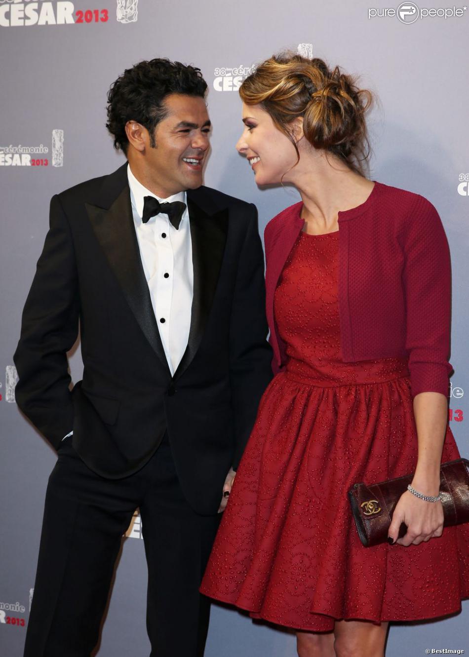 Jamel Debbouze, président de la 38e cérémonie, et sa femme Mélissa theuriau lors des César à Paris le 22 février 2013