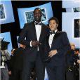 Omar Sy et le président Jamel Debbouze lors des César à Paris le 22 février 2013