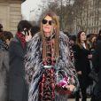 Anna Dello Russo arrive au défilé Dior à Paris le 1er mars 2013