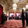 François Hollande lors de la cérémonie de remise de la Légion d'honneur aux sportifs médaillés à Londres lors des Jeux olympiques, au palais de l'Elysée le 1er mars 2013 à Paris