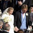 Le prince William et la duchesse de Cambridge Kate Middleton, enceinte, assistent au mariage de Laura Bechtolsheimer avec Mark Tomlinson, ici à la sortie du temps protestant, à Arosa en Suisse, le 2 mars 2013.