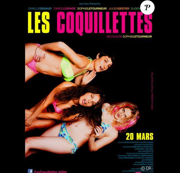 Affiche détournée de Spring Breakers pour la promotion de la comédie Les Coquillettes.