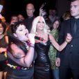Beth Ditto et Donatella Versace durant la Fashion Week de Milan, le 21 septembre 2012.