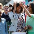 La First Lady, Michelle Obama, entourée de ses filles, Malia et Sasha, pour la traditionnelle chasse aux oeufs de la Maison Blanche, le 1er avril 2013.