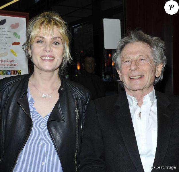 Emmanuelle Seigner et Roman Polanski lors de l'avant-première du film Des gens qui s'embrassent le 1er avril 2013 à Paris