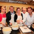 Laurence Ferrari, Jean-Pierre Pernault, Cendrine Dominguez, le chef Alain Ducasse et Christophe Michalak lors de la 2e édition de  Tous en Cuisine avec l'Ecole Alain Ducasse  à Paris, le 22 novembre 2012.