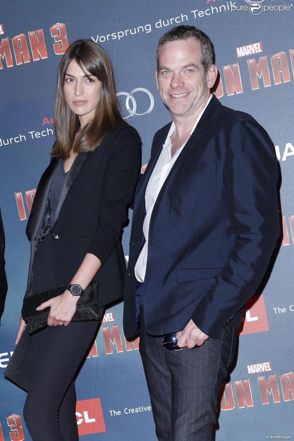 Luc Plamondon, Garou et sa compagne Stéphanie Fournier à l'avant-première parisienne de Iron Man 3 au Grand Rex, le 14 avril 2013