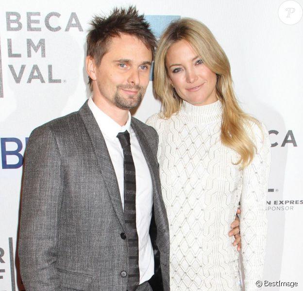 Kate Hudson et son fiancé Matthew Bellamy pendant la première du film L'intégriste malgré lui au festival de Tribeca à New York, le 22 avril 2013.