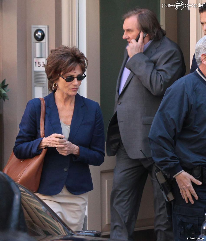 Gérard Depardieu et Jacqueline Bisset sur le tournage du film inspiré de l'affaire DSK à New York le 25 avril 2013