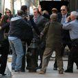 Gérard Depardieu sur le tournage du film inspiré de l'affaire DSK à New York le 25 avril 2013