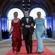 La princesse Mabel, le prince Constantin et la princesse Laurentien des Pays-Bas - Diner de gala pour l'intronisation du roi Willem-Alexander des Pays-Bas a Amsterdam. Le 29 avril 2013  Princess Mabel, left, Prince Constantijn, center and Princess Laurentien, right, arrive for a dinner, at the invitation of Queen Beatrix, with members of the royal family and guests at the Rijksmuseum in Amsterdam, The Netherlands,on Monday night, April 29, 2013.29/04/2013 - AMSTERDAM