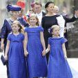 Les princesses Catharina-Amalia (9 ans), Alexia (7 ans) et Ariane (6 ans), filles du roi Willem-Alexander et de la reine Maxima des Pays-Bas, à la Nouvelle Eglise d'Amsterdam lors de la prestation de serment de Willem-Alexander, le 30 avril 2013.