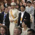 Le prince Naruhito et la princesse Masako du Japon lors de la prestation de serment du roi Willem-Alexander des Pays-Bas à la Nouvelle Eglise (Nieuwe Kerk) d'Amsterdam, le 30 avril 2013.