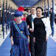 La princesse Beatrix et la princesse Mabel arrivent pour la prestation de serment du roi Willem-Alexander des Pays-Bas à la Nouvelle Eglise (Nieuwe Kerk) d'Amsterdam, le 30 avril 2013.