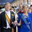 Le roi Willem-Alexander et la reine Maxima arrivent pour la prestation de serment du roi Willem-Alexander des Pays-Bas à la Nouvelle Eglise (Nieuwe Kerk) d'Amsterdam, le 30 avril 2013.