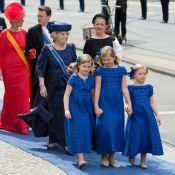 """Maxima, reine glamour avec ses filles, jolies """"bleues"""" pour le serment du roi"""