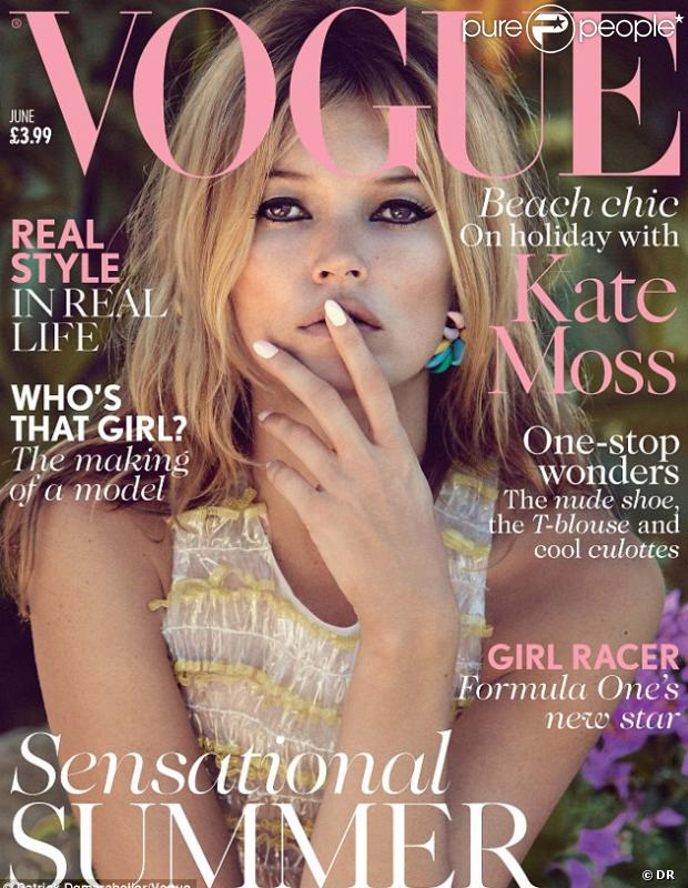 Kate Moss fait la couverture de Vogue UK, photographiée par Patrick Demarchelier