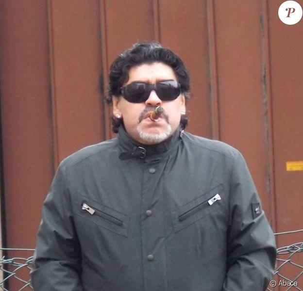 Diego Maradona lors d'une visite à Manchester le 6 mars 2013