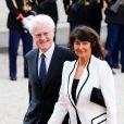 Lionel Jospin et sa femme Sylviane Agacinskilors d'un dîner d'Etat à l'Elysee en l'honneur du président polonais Bronislaw Komorowski, le 7 mai 2013.