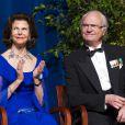Le Roi Carl Gustav et la Reine Silvia de Suède ravis au dîner de gala pour le 375e anniversaire de la fondation de la Nouvelle-Suède à Wilmington le 11 mai 2013.