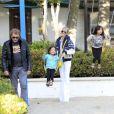 Johnny Hallyday et Laeticia avec leurs filles, Jade et Joy, à Los Angeles le 27 avril 2013.