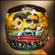 Le nouveau casque de Lewis Hamilton, où l'on retrouve le pilote, sa compagne Nicole Scherzinger et son chien Roscoe