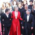 Mathieu Amalric, Emmanuelle Seigner et Roman Polanski lors de la montée des marches de leur film La Vénus à la fourrure le 25 mai 2013 au Festival de Cannes