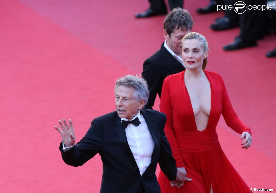 Roman Polanski, Emmanuelle Seigner et Mathieu Amalric lors de la montée des marches de leur film La Vénus à la fourrure le 25 mai 2013 au Festival de Cannes