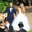 Exclusif - Mariage de l'acteur Aaron Paul et de la belle Lauren Parsekian au Cottage Pavilion à Malibu, le 26 mai 2013.