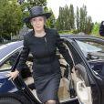La princesse Benedikte aux obsèques du comte Christian de Rosenborg, ancien prince de Danemark, le 29 mai 2013 à l'église et au cimetière de Lyngby. Outre sa veuve Anne Dorte et leurs trois filles, la reine Margrethe II de Danemark, le prince Henrik, la princesse Benedikte et la princesse Marie assistaient à l'office, conduit par Julie Schmidt.