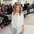 Jennifer Lopez arrive aux studios de la radio BBC Radio 1 à Londres, le 30 mai 201.