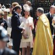 Le prince William et Kate Middleton, enceinte et en Jenny Packham avec un chapeau Jane Taylor, quittant l'abbaye de Westminster après la cérémonie pour les 60 ans du couronnement d'Elizabeth II, le 4 juin 2013 à Londres.