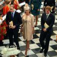 Le duc et la duchesse de Cambridge avec le prince Harry lors du service en l'honneur des 60 ans du couronnement de la reine Elizabeth II, à l'abbaye de Westminster le 4 juin 2013.