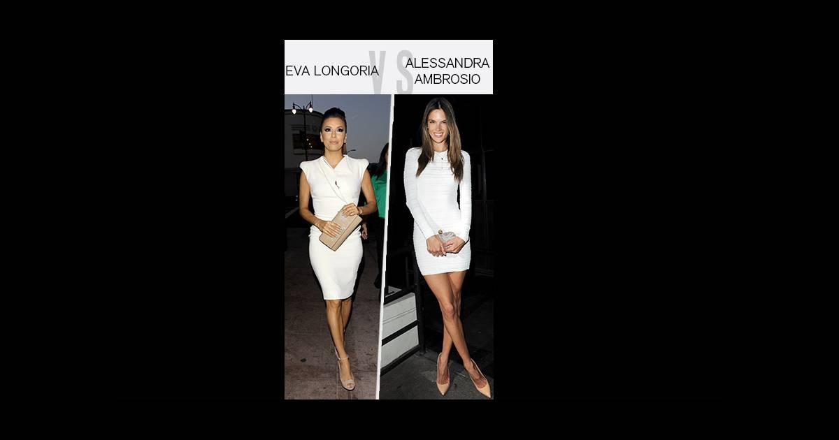 Eva longoria alessandra ambrosio qui porte le mieux la petite robe blanche - La porte blanche belgique ...