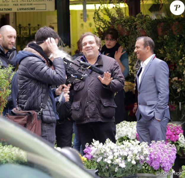 Exclusif - Les Inconnus Didier Bourdon et Pascal Légitimus sur le tournage des Trois frères, le retour (titre provisoire) à Paris le 30 mai 2013