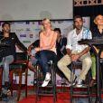Jamel Debbouze, Audrey Lamy, Ary Abittan et Rachid Badouri  lors de la conférence de presse du Festival du Rire de Marrakech, le 8 juin 2013.