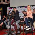 Michael Youn, Jamel Debbouze, Audrey Lamy et Ary Abittan lors de la conférence de presse du festival Marrakech du rire à Marrakech, le 8 juin 2013.