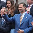 Bravo, Rafa ! Le prince Felipe d'Espagne lors de la finale 100% ibérique de Roland-Garros 2013 entre Rafael Nadal et David Ferrer, le 9 juin 2013 à Paris.