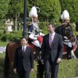 Le prince Felipe d'Espagne accueillait le 10 juin 2013 au palais du Pardo, à Madrid, le prince Naruhito du Japon.