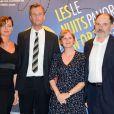 """Julie Ferrier, Johan Jonason, Anna Novion et Jean-Pierre Daroussin à la soirée """"Les Nuits en Or 2013, Le Panorama"""" organisée dans les locaux de l'UNESCO à Paris, le 17 juin 2013."""