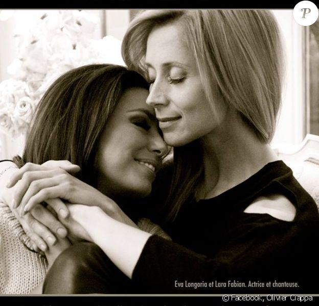 L'actrice Eva Longoria et la chanteuse Lara Fabian ont posé pour l'exposition Couples imaginaires d'Olivier Ciappa.