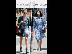 Jessica Alba vs Emmy Rossum : Qui porte le mieux la veste en jean ?