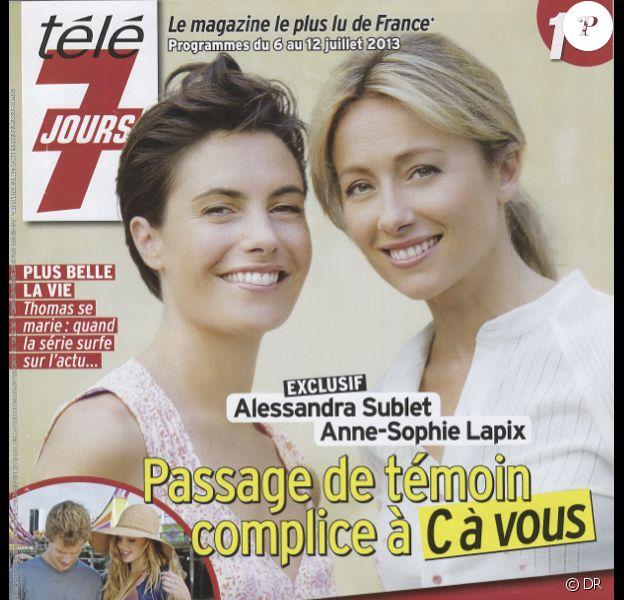 Alessandra Sublet et Anne-Sophie Lapix en couverture du Télé 7 Jours en kiosques le 1er juillet 2013.